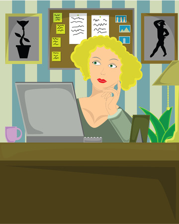 blond female sitting in home office thoughtfully working on laptop. Vector