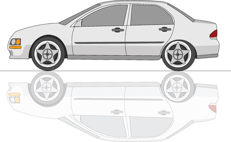White Sedan Car with reflection Illustration