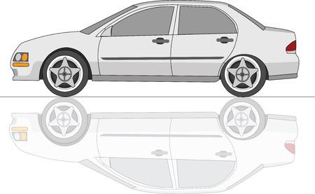 4 door: White Sedan Car with reflection Illustration