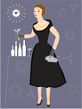 sophistication: Woman drinking cocktail at 1950s Party in black dress