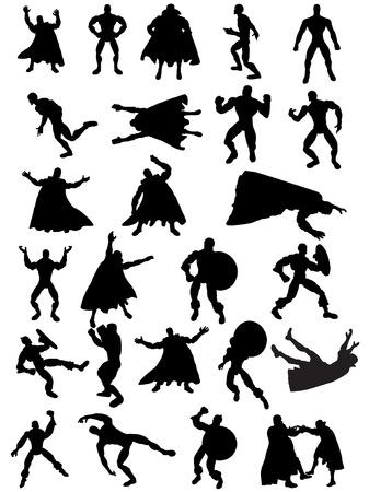 peleando: Colecci�n de 25 Superhero Silhouettes