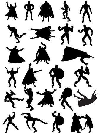 Collection of 25 Superhero Silhouettes Stock Illustratie