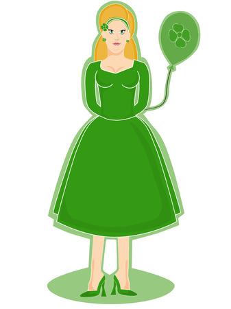 Irish Woman Holding a balloon Stock Vector - 2656403