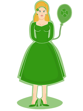 Irish Woman Holding a balloon Stock Vector - 2656403