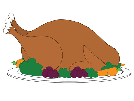 Turkey with dressing on plate Stock Illustratie