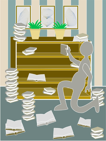 Person grabbing book from messy bookcase Vector