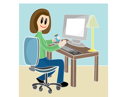 Woman sitting at desk in front of computer Vector