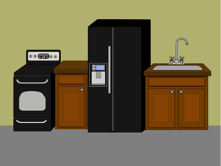 kitchen appliances: Basic kitchen appliances and fixtures against wall