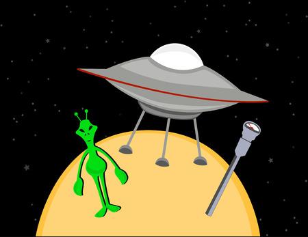 Green alien parking spaceship next to street meter