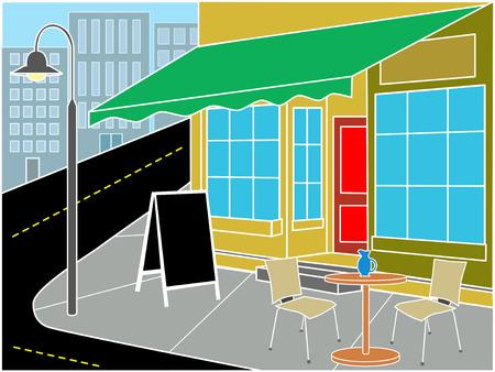 street lamp: Restaurant entrance on corner near street  Illustration