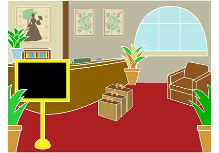 lobby: Hotel check in lobby with display sign and luggage at angle