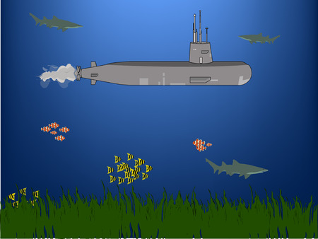 depth: Submarine depth under water surrounded by fish and sharks, green grass floor Illustration