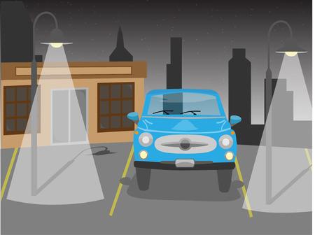 Vectorauto in parkeren bij nacht Stock Illustratie