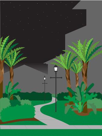 Walking pathway at night Illustration