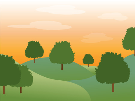 fading: Gentle sunset behind green full trees in a hilly valley accented by fading clouds. Illustration