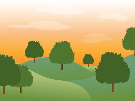 accidentado: Suave verde plena puesta de sol detr�s de los �rboles en un valle monta�oso acentuados por desvanecimiento nubes. Vectores