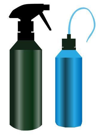 cocina limpieza: Dos botellas de cocina, un spray verde botella y una boquilla de color azul estilo  Vectores