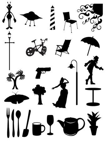 シルエット女性、光、椅子、シーン、木、道化師、傘、道具のランダムなバッチ  イラスト・ベクター素材