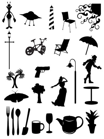 Random batch of silhouettes woman, light, chair, scenes, trees, jester, umbrella, utensils