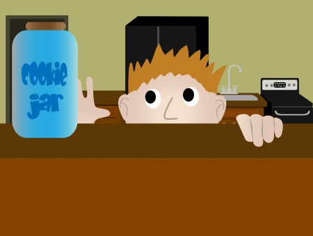 Sneaking a cookie from the a jar in the kitchen Vector