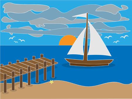 flying boat: Sunrise cerca de muelle en playa con velero, nubes y aves Vectores