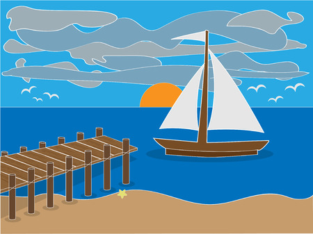 Sunrise near dock on beach with sailboat, clouds and birds Stock Illustratie