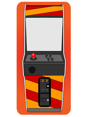 Classic arcade cabinet, free standing old fashion gaming machine.