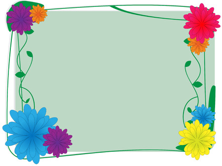 Flower and ivy border - Vector Background Vector