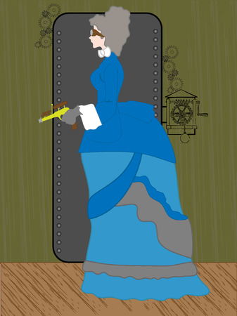 Steampunk Woman holding raygun in rustic setting - vector  Illustration
