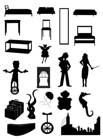 Random batch of silhouettes woman, juggler, fairy, furniture, city, unicycle, , seahorse, vector Vector