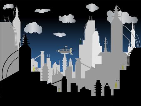 Futurista ciudad - Vector fondo  Ilustración de vector