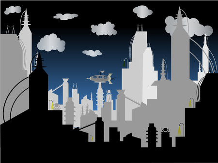 futuristic city: Futuristic City - Vector Background