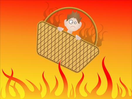 핸드 바구니에 지옥에 가려고 - 벡터