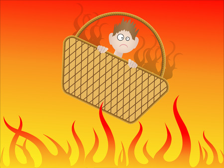 damnation: Going to hell in a handbasket - Vector Illustration