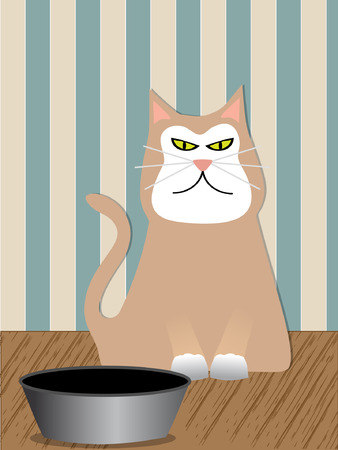 hostile: Angry Cat sitting next to his food dish - Vector