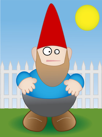 Garden Gnome standing by white fence on sunny day - Vector Vector