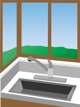 surrounded: angolo cottura al lavello, circondato da finestre - vector background