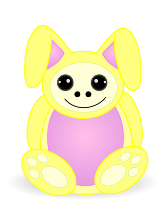 delightful: Round cute adorable bunny rabbit doll creature - Vector Illustration