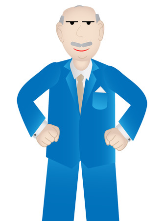 raise the thumb: Older business man with positive attitude - vector Illustration