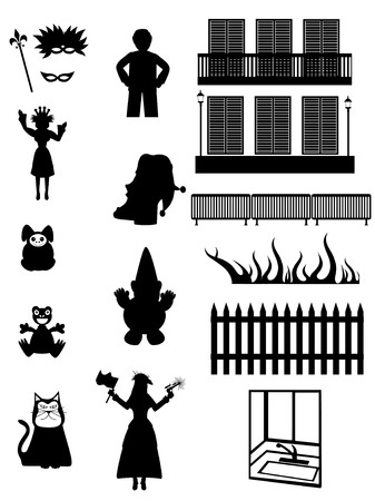 balcony: Set of celebration, everyday & fantasy silhouettes - Vector