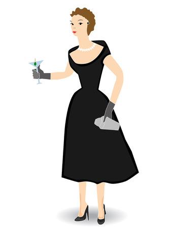 sophistication: 1950 la celebraci�n de mujer c�ctel aislados - vectores