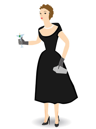 sophistication: 1950s woman holding cocktail Isolated - Vector
