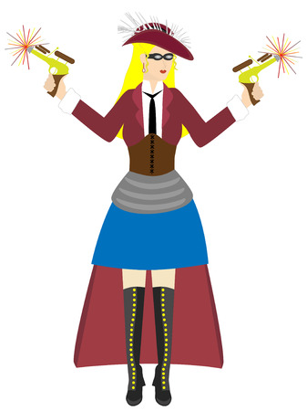 Steampunk lady liberty isolated - Vector