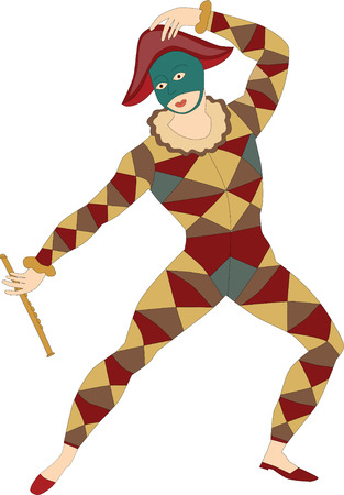 pleasing: Musical masked man with flute isolated - Vector