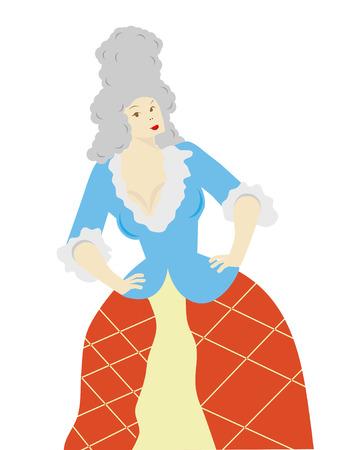 peluca: Mujer llevaba peluca con las manos sobre las caderas aisladas