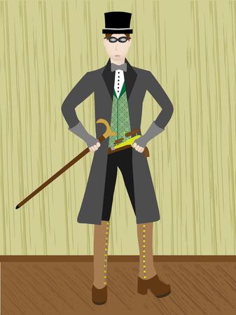 Steampunk Gentleman in rustic wooden setting Vector Stock Vector - 3382851