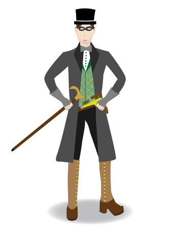 Steampunk Gentleman with gun Isolated Vector Ilustrace