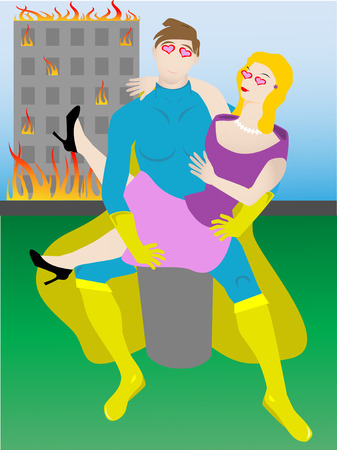 disaster: Love struck superhero holding woman missing disaster  Illustration