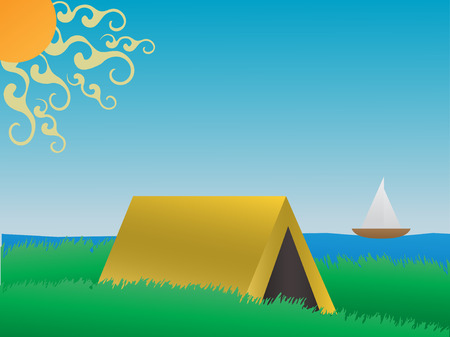 Camping on a grassy hill near lake daytime VECTOR
