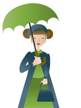 sad lonely girl: Girl holding umbrella VECTOR Illustration